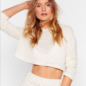 Cropped light knit hoodie